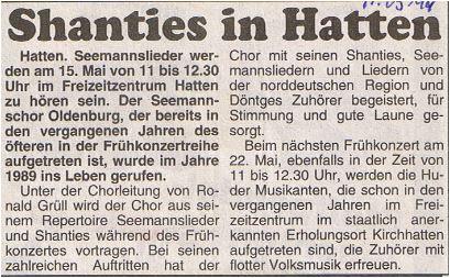 Hunte Report - 11.05.1994