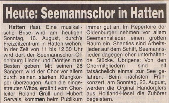 Hunte Report - 16.08.1998